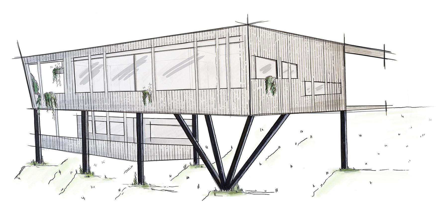 Illustration unseres Ökologischen Hauskonzepts in Hanglage